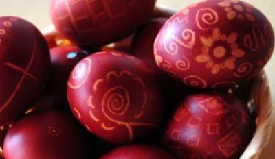 Red eggs for Easter